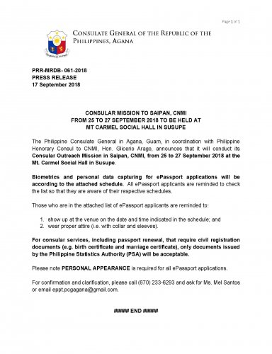 Embassy of the Philippines - Announcements
